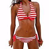 Xmansky Damen Push Up Bikini-Sets Böhmen Tankini Neckholder Bandeau Bademode Swimwear (XL, Rot)