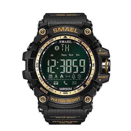 Herren Cool Digitaluhren Anruf SMS Benachrichtigung Sport Smartwatch Digital Resin Uhr für Männer Frauen