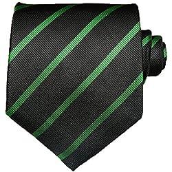 TNS - Corbata de rayas finas, clásica, con pañuelo y gemelos a juego Verde Black & Green Thin Striped Tie Talla única