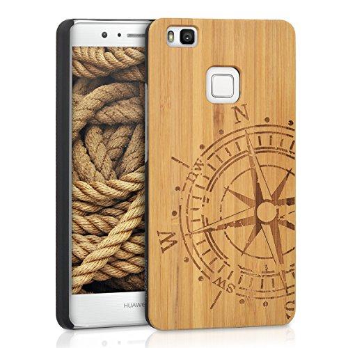 Kwmobile custodia in legno per huawei p9 lite cover rigida - protezione per cellulare case design bussola bambù