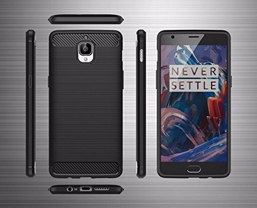 lowest price 394be 37392 BOUNCEBACK SHOCKPROOF CARBON FIBER DESIGN SOFT TPU BACK CASE / COVER FOR  ONEPLUS 3T / ONEPLUS 3 -BLACK