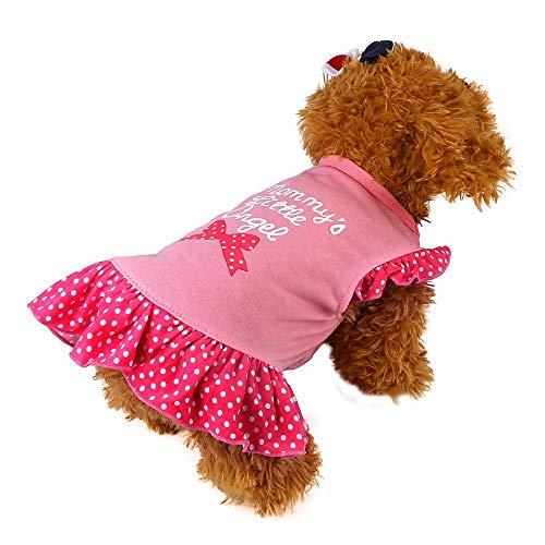 YWLINK Sommer Süß Haustier Hund Katzen Polka Dot Kleid Kleider RüSchen Kurzarm Brief Drucken Prinzessin Rock(Rosa,S)