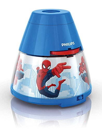 Philips Marvel Spiderman LED Projektor Tischleuchte, blau/rot, 717694016