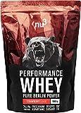 nu3 Performance Whey Protein - 1 kg de suero en polvo sabor fresa con 74.1% de proteína - Con aminoácidos BCAAs + proteína aislada isolate - Batido proteico para ganar masa - Altamente soluble