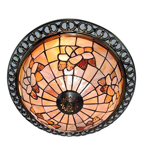 3 Licht Tiffany-Stil Deckenleuchte Unterputz, 12-Zoll-Magnolien-Muster natürliche farbige Shell Schatten Eisen Decke Hängeleuchte für Esszimmer Anhänger -