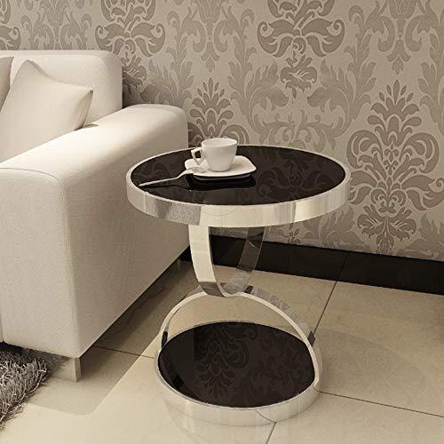 ZJJ Moderner minimalistischer Edelstahl-Gold-runder Tisch vergoldetes ausgeglichenes Glas-Sofa-Beistelltisch-Freizeit-Couchtisch (Farbe : Silber, größe : 40 * 45cm) -