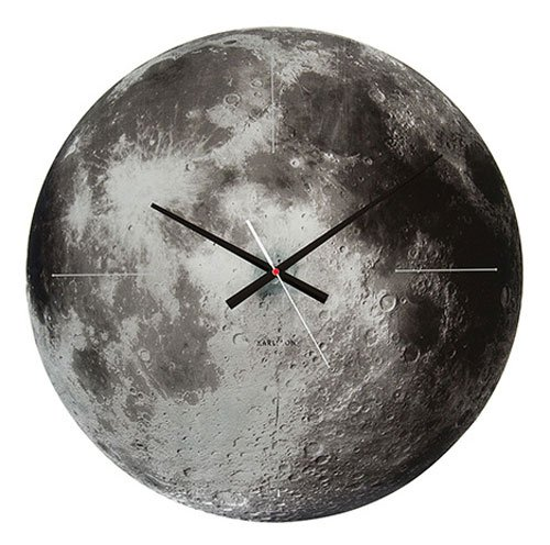 Karlsson KA5475 Horloge Murale Moon, Glass Mirror, Gris Verre, 4 x 60 x 60 cm