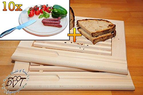 Buche - SPÜLMASCHINENFEST '*' -Grill-Holzbrett mit Krümelfach ca. 24 mm Dicke natur 2 Stück, mit abgerundeten Kanten, Maße viereckig je ca. 36 cm x 29 cm & 10 mal Picknick Grill-Holzbrett mit Rillung natur, groß, hochwertig, Buche - SPÜLMASCHINENFEST '*' , ca. 16 mm dick, mit abgerundeten Kanten, Maße rund je ca. 30 cm Durchmesser als Bruschetta-Servierbrett, Brotzeitbrett, Bayerisches Brotzeitbrettl, NEU Massive Schneidebretter, Frühstücksbretter,