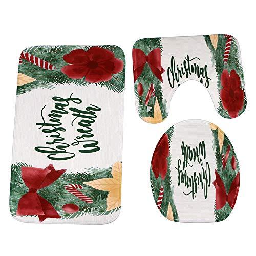 Preisvergleich Produktbild Hukz Frohe Weihnachten, Weihnachtliche WC-Matte 3-teilig, 3 Stück Weihnachten Bad Rutschfeste Sockel Teppich + Deckel Toilettenabdeckung + Badematte Set (E)