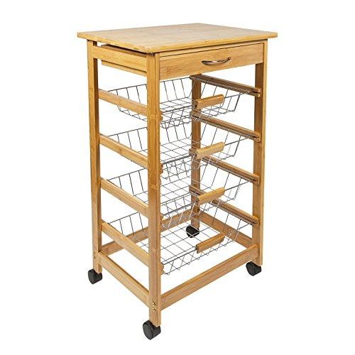 Woodluv Bamboo Kitchen Storage Trolley Cart ...