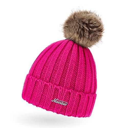 Damen Strick-Mütze mit Fell-Bommel, Wollmütze mit Kunstfell, Winter-Mütze, Bommelmütze, Neverless pink unisize