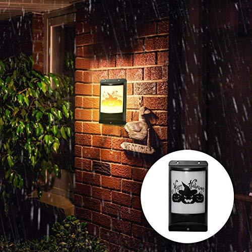 QHJ Halloween Accessoires, Halloween Outdoor LED Solar Algen Wandleuchte Wasserdicht Landschaft Home Ambient Light Landschaftslicht - Werwolf Katze Kostüm