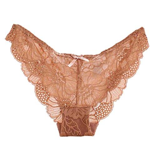 Unterwäsche Dessous lingerie Damen,Yanhoo Heiße Mode Frauen Spitze Schlüpfer Unterwäsche-transparenter Komfort Breathable plus Größe Höschen (S, Khaki)