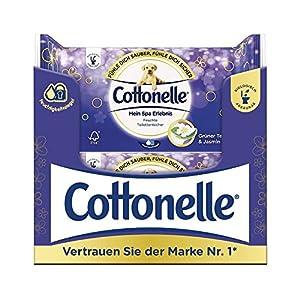 Cottonelle Feuchte Toilettentücher mein Spa Erlebnis mit Grünem Tee und Jasmin Extrakten, 12er Pack (12 x 42 Tücher)