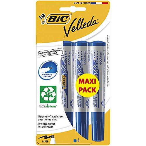 bic-velleda-1701-maxi-pack-de-4-marqueurs-effacable-a-sec-pointe-ogive-bleu