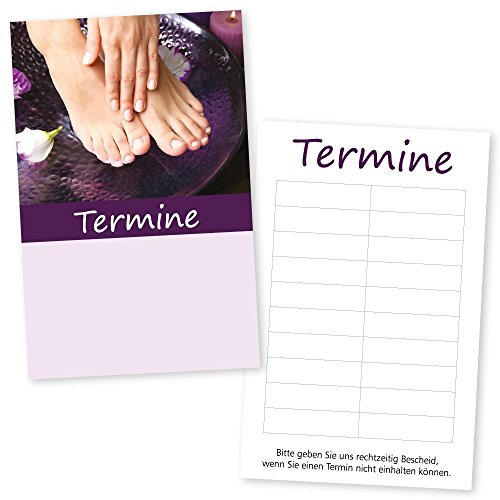 1.000 Fußpflege-Nagel-Gutscheinkarten HAND & FUß mit 10 Terminfeldern und Stempelfläche auf der Vorderseite