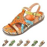 Gracosy Sandales Plates Femmes, Sandales en Cuir Chaussures de Ville Été Semelle...
