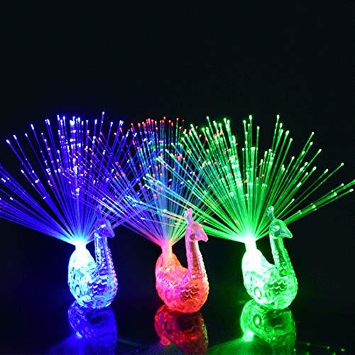 ziweipp Bunte led leuchten Ringe pfau Finger licht Party Gadgets Kinder intelligentes Spielzeug für Party Geschenk Farbe zufällig -