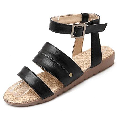 COOLCEPT Femmes Mode Cheville Sandales Orteil ouvert Slingback Appartement Chaussures Noir