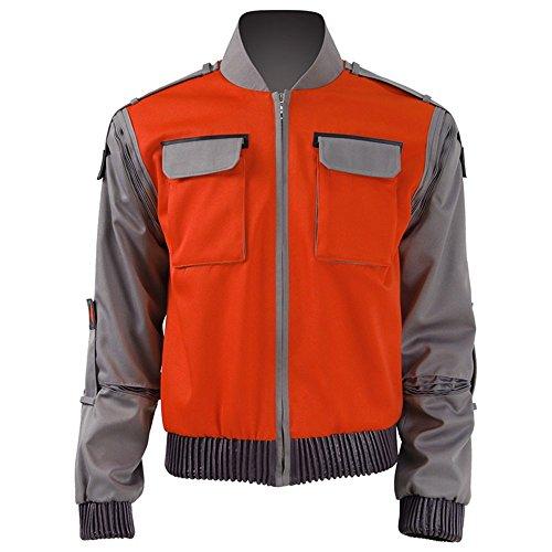 Jinlan Fuzhuang Marty McFly Jacke Cosplay Kostüm Lässige Outwear Anzug für Männer (XXL, Orange)