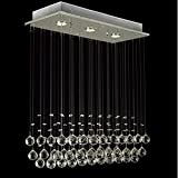 Glighone LED Deckenleuchte Kristall Kronleuchter Modern Pendelleuchte Rain Drop Beleuchtung mit 3 Leuchten Kristallkugel für Küche, Flur, Wohnzimmer, Schlafzimmer usw. ( Leuchtmittell erhalten)