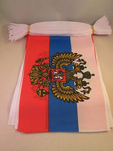 Foto de AZ FLAG Guirnalda 12 Metros 20 Banderas de Rusia con Aguila 45x30cm - Bandera Rusa con Armas 30 x 45 cm - BANDERINES