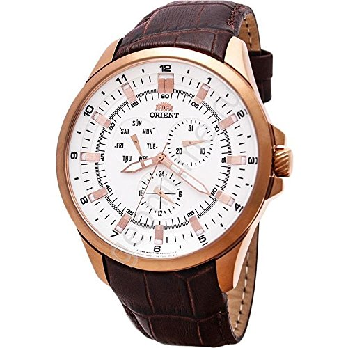 ORIENT MEN'S 46MM LEATHER BAND ROSE GOLD PLATED CASE QUARTZ WATCH FSX01004W0
