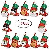 Chnaivy Klassische Weihnachtsstrümpfe für Dekoration, Weihnachtsmann Schneemann und Elch Dekoration, Geschenk/Leckerlibeutel für Kinder, 12 Stück …