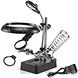 #5: Iktu MG16129-C Helping Hand Soldering Stand Magnifying 5 LED Auxiliary Clamp Clip Magnifier Welding Rework Repair Solder Iron Holder