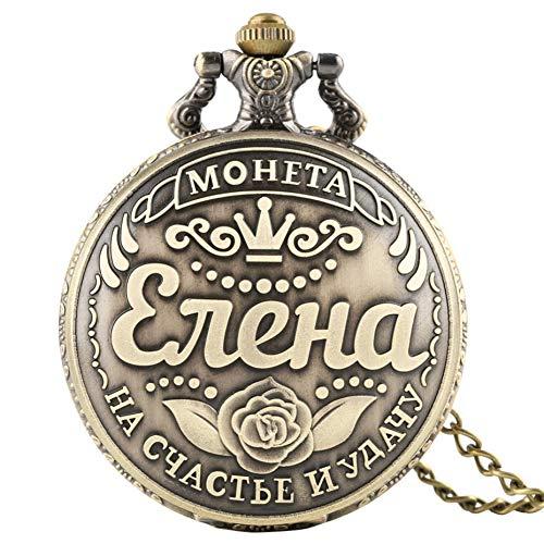 JHYMM Taschenuhr Russische Souvenir Name Münzen Display Design Quarz Taschenuhr Sammlung Anhänger Uhr Geschenke Männer Frauen Bronze Halskette Kette