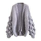 NiSeng Women's Knitted Sweater Cardigan Cable Knit Open Cardigan Casual Loose Batwing Chunky Sweater Coat Gray