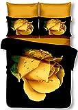 DecoKing Premium 00861 Bettwäsche 135x200 cm mit 1 Kissenbezug 80x80 schwarz 3D Microfaser Bettbezug Bettwäschegarnitur Blumen Blumenmuster black weiß white gelb yellow Orea