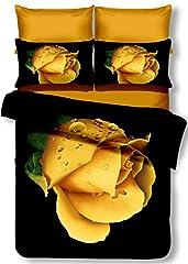 Idea Regalo - decoking Premium 00830Copripiumino matrimoniale 200x 220cm con 2federe 80X 80microfibra 3d nero completo letto lenzuola fiori motivo floreale bianco bianco nero giallo Yellow OREA