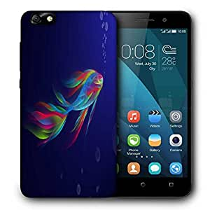 Snoogg Neon Fish Printed Protective Phone Back Case Cover For Huawei Honor 4X