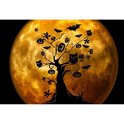 OERJU 2,7x1,8m Halloween Hintergrund Baum Eule Fledermäuse Kürbis Dekoration Vollmond Nachtsicht Hintergrund Halloween Party Fotografie Süßes oder Saures Kinder Party Banner Dekoration Porträt (Für Halloween Baum-dekorationen)