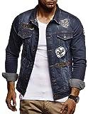 LEIF NELSON Herren Jeans-Jacke mit Knopf | Freizeitjacke Slim Fit Kleidung Männer LN9505; Größe XL, Blau