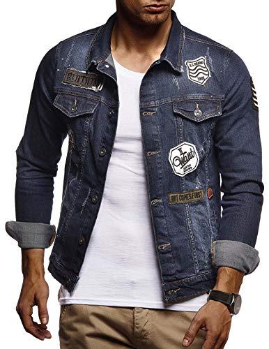 LEIF NELSON Herren Jeans-Jacke mit Knopf | Casual Freizeitjacke Slim Fit | Männer-Übergangsjacke Stretch Langarm | Das Beste in Kleidung Männer LN9505; Größe L, Blau