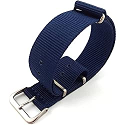G10 Nato Military Blue Nylon Watch Strap Band Satin Buckle 16mm