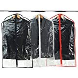 Hangerworld 100 cm (40') Suit/Garment Clothes Cover Bags, Pack of 6, Clear with Mixed Trim Colours