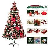 GxNImer Arbre de Noël Artificiel, décor Lumineux de Vacances d'arbre d'ornement de Noël de chiffrement de 4ft / 5ft / 6ft avec Assemblage Facile,Red,180cm/70in
