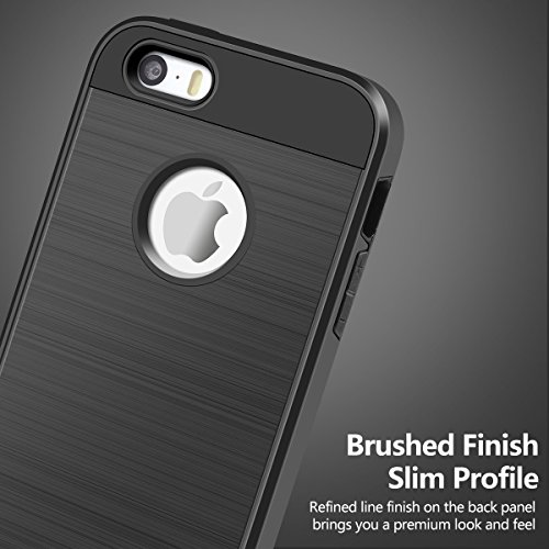 Cover iPhone 5S,Cover iPhone 5,Cheeringary Nero Bumper Cover Apple iPhone SE / 5S / 5 360 Gradi Hybrid Doppio Strato TPU + PC Assorbimento Urto Protettiva Custodia iPhone SE 5S 5 Slim Phone Case Nero