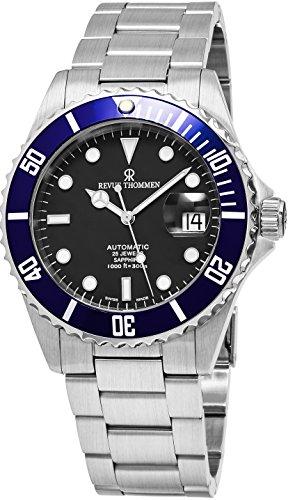 Revue Thommen Diver 42 mm Herren-Armbanduhr, schwarzes Zifferblatt, Edelstahl, automatische Datumsanzeige, Schweizer Uhr 17571.2135