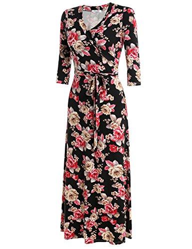 ZEARO Damen Elegant Maxikleid Partykleid Cocktailkleid Abendkleid Strandkleid Rot Schwarz