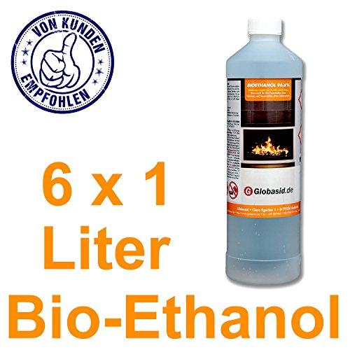 Bio-Ethanol 6 x 1 L 96,6% für Kamine 1 Liter Flaschen für handliche und sichere Anwendung Brennstoff für Deko-Kamine im Innen- und Außenbereich Bio-Alkohol ist geruchsneutral & verbrennt rückstandslos