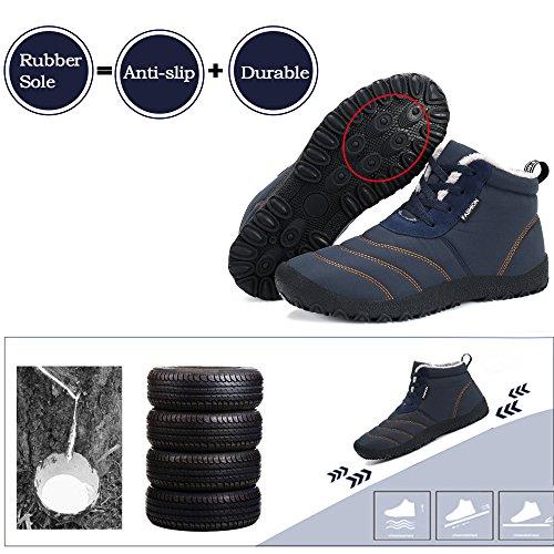 SAGUARO® Herren Damen Winterschuhe Warm Gefüttert Winter Stiefel Kurz Schnür Boots Schneestiefel Outdoor Freizeit Schuhe Blau