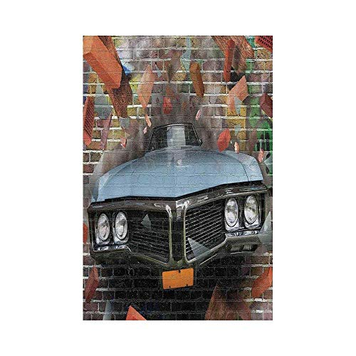Liumiang Eco-Friendly Manual Custom Garden Flag Demonstration Flag Game Flag,Cars,Graffiti Featured Graphic of Crashing Automobile on A Brick Wall Underground Street Style,Multie d¨¦COR - Graphics Brick Wall
