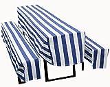 FTS Exclusiv Biertischhusse 3er Set blau/weiß versch. Farben wahlweise mit 2cm, 5 cm Polsterung oder ohne Polsterung (blau/weiss, Ohne Polsterung)