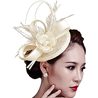 Aniwon Fascigirl Fascinator Hut Feder Party Pillbox Hut Blume Derby Hut für Damen