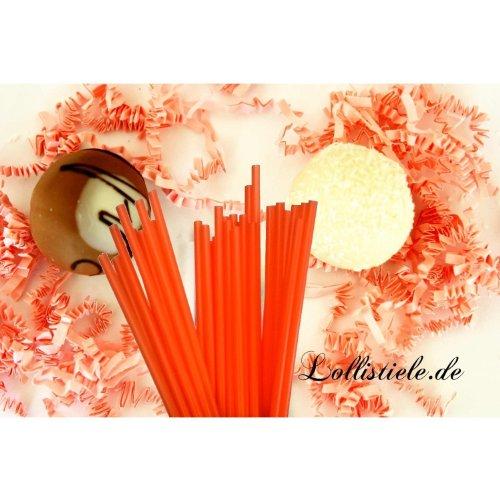 Cake Pops - Lollipop Sticks farbig - 100 Stück (orange) 15cm x 4mm