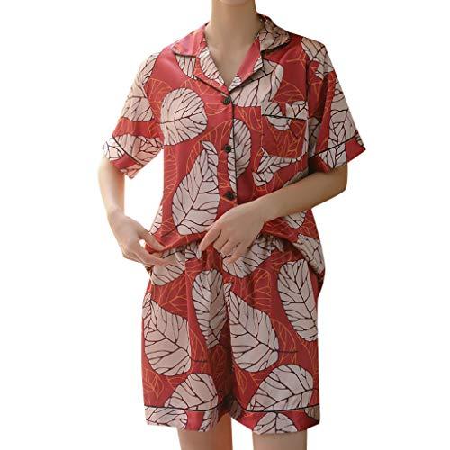 auen 2 Stücke Sommer Pyjamas Kurzarm Shorts Pyjamas Lose Nachtwäsche Homewear Damen Hauspyjama Zweiteilig (Rot,XL) ()